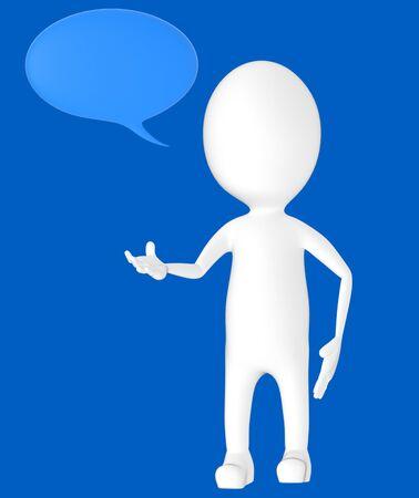 3d white character, speech bubble -blue background- 3d rendering Zdjęcie Seryjne