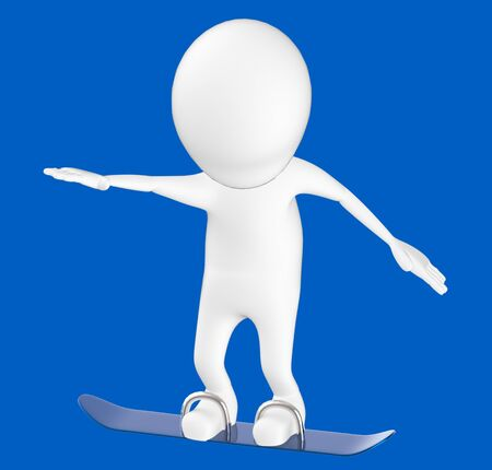 3d white character , snow skating -blue background- 3d rendering