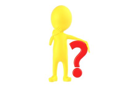 3d yellow character , question mark - 3d rendering