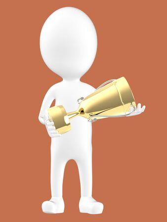 3d white character holding a golden trophy -brown background- 3d rendering