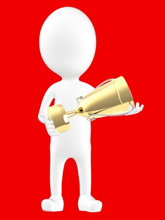 3d white character holding a golden trophy -red background- 3d rendering