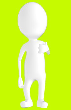 3d white character showing thumbs up hand gesture -green background- 3d rendering Reklamní fotografie