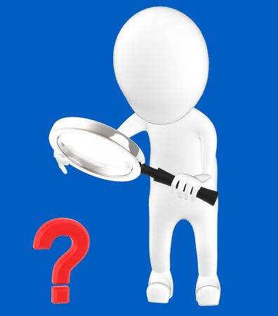 3d white character holding a magnifier in hands and looking question mark through it -blue background- 3d rendering