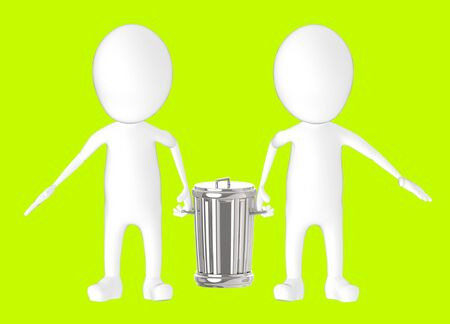 3d white character - two character carrying recycle bin -green background- 3d rendering