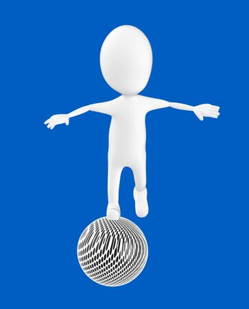3d white character , balancing on a ball -blue background- 3d rendering