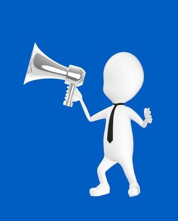 3d white character holding a loud speaker -blue background- 3d rendering