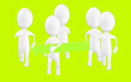 3d white character , one character holdind a green arrow and running , others following Reklamní fotografie