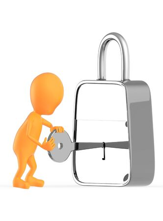 3d orange character insterting a key in to a lock , unlocking , locking - 3d rendering Stock Photo