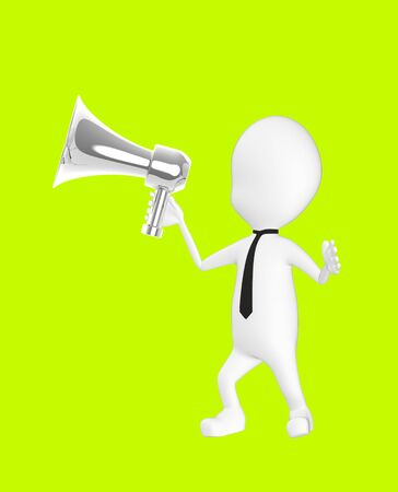 3d white character holding a loud speaker -green background- 3d rendering