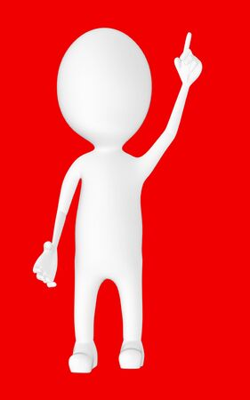 3d white character , pointing his hands upward -red background- 3d rendering
