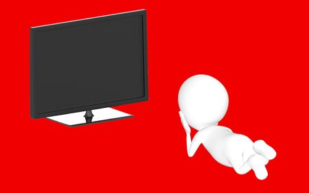3d white character lying on floor and watching television -red background- 3d rendering Zdjęcie Seryjne
