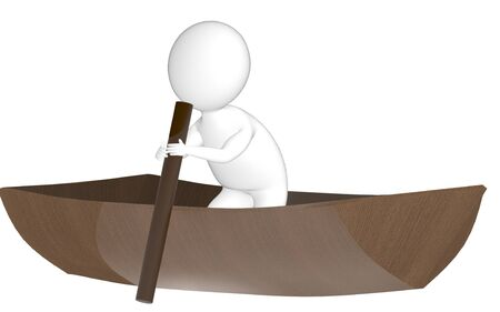 3d character , man rowing a boat- 3d rendering