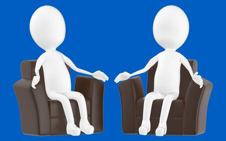 3d white character , sitting in a sofa -blue background- 3d rendering
