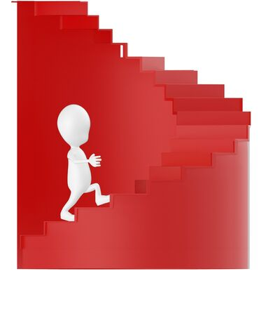 3d white character walking up on spiral stairs - 3d rendering 版權商用圖片 - 134046676