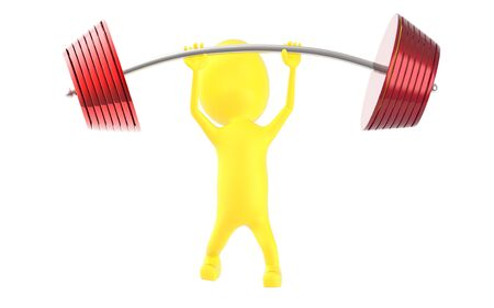 3d yellow character lifting weights -3d rendering