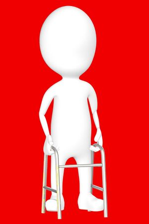 3d white character with cruches -red background- 3d rendering Imagens - 134046686