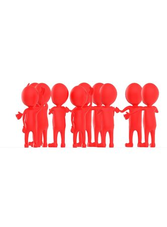 3d red character crowd disccussion- 3d rendering