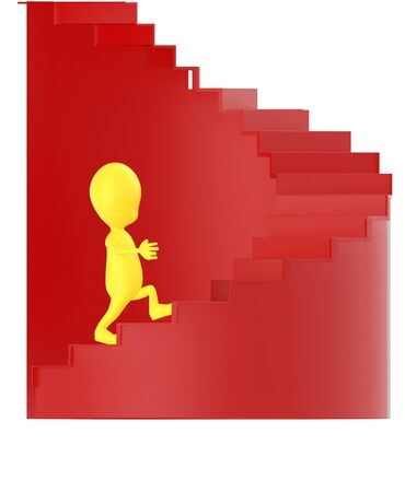 3d yellow character walking up on spiral stairs - 3d rendering