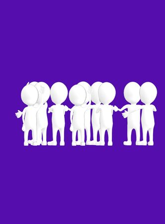3d white outlined character crowd disccussion- dark violet background - 3d rendering