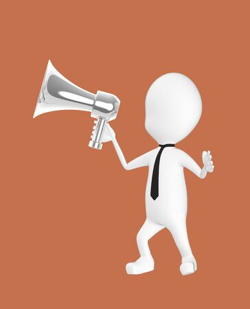 3d white character holding a loud speaker -brown background- 3d rendering