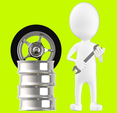 3d white character , holding wrench standing near to tyre rim -green background- 3d rendering Imagens - 134046730