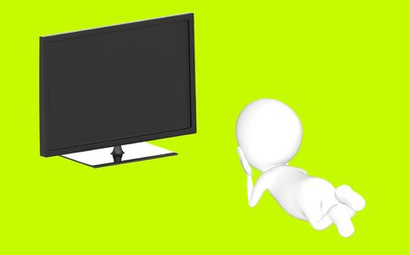 3d white character lying on floor and watching television -green background- 3d rendering Zdjęcie Seryjne