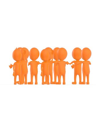 3d orange character crowd disccussion- 3d rendering