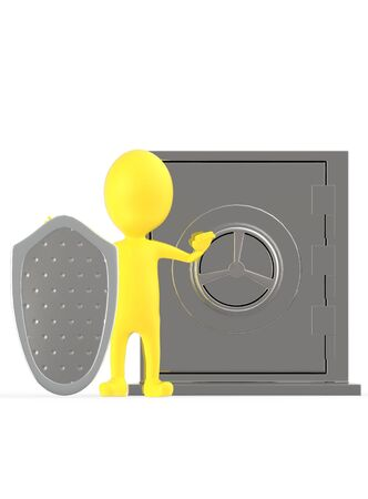 3d yellow character with a shield protecting a locker- 3d rendering