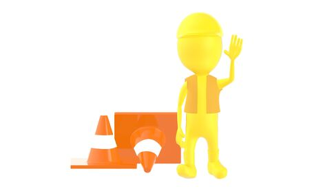 3d yellow character work men showing stop gesture , traffic cones behind - 3d rendering Imagens - 134046801