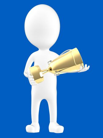3d white character holding a golden trophy -blue background- 3d rendering