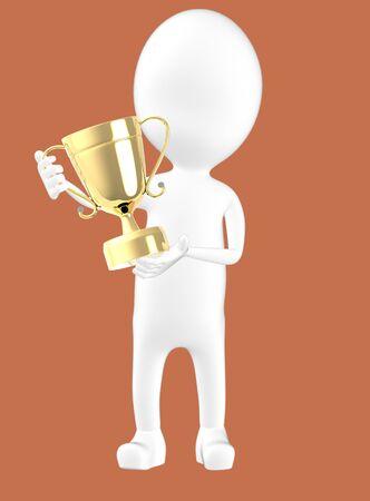 3d white character holding a trophy -brown background- 3d rendering Reklamní fotografie