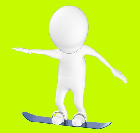 3d white character , snow skating -green background- 3d rendering