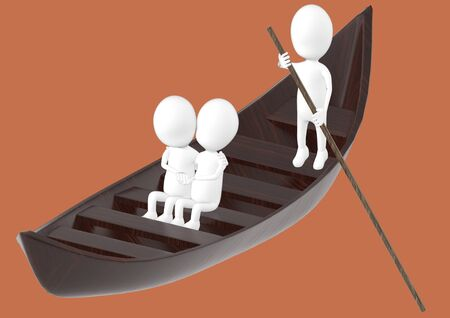3d white character , couples on boat , while another characer rowing the boat -brown background- 3d rendering 스톡 콘텐츠