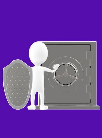 3d white character with a shield protecting a locker- dark violet background - 3d rendering