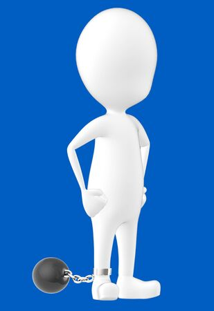 3d white character , leg tied to a weight -blue background- 3d rendering Banco de Imagens
