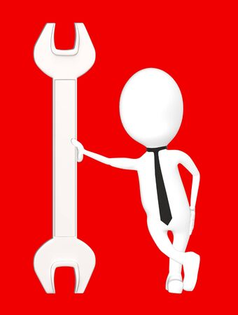 3d white character leading his hand towards a wrench-red background- 3d rendering Imagens - 134046983