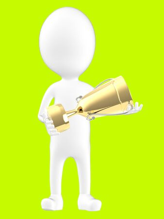 3d white character holding a golden trophy -green background- 3d rendering