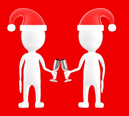3d white character , two character wearing xmas cap and clinking glasses -red background- 3d rendering