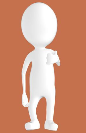 3d white character showing thumbs up hand gesture -brown background- 3d rendering