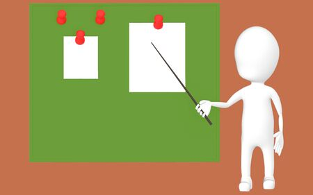 3d white character holding a stick and pointing it towards a green board with pinned papers -brown background- 3d rendering