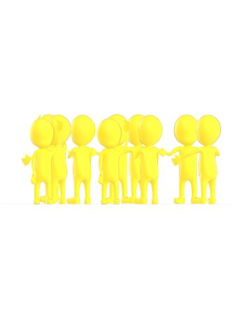 3d yellow character crowd disccussion- 3d rendering
