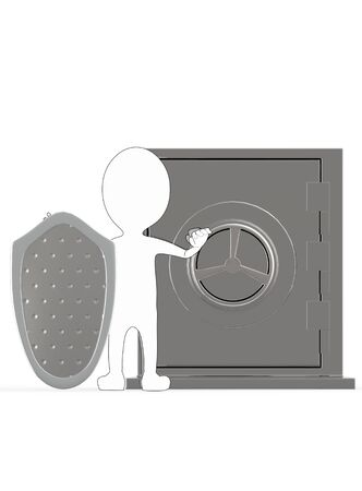 3d white outlined character with a shield protecting a locker- 3d rendering