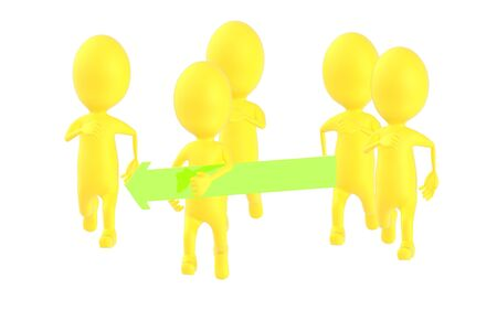 3d yellow character , one character holdind a green arrow and running , others following