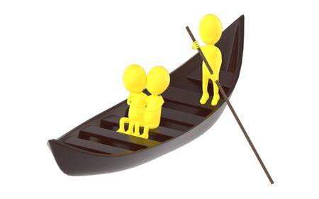 3d yellow character , couples on boat , while another characer rowing the boat - 3d rendering 스톡 콘텐츠