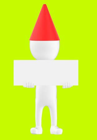 3d white character wearing a cone cap and holding a white empty board -green background- 3d rendering