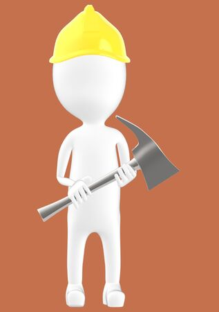 3d white character man wearing safety helmet and holding a axe -brown background- 3d rendering