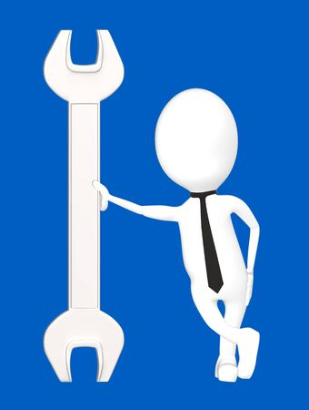 3d white character leading his hand towards a wrench-blue background- 3d rendering Imagens - 134047087