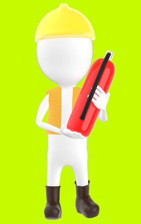 3d white character wearing a safety helmet and holding a fire extinguisher in hand -green background- 3d rendering