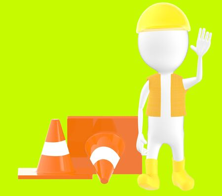3d white character work men showing stop gesture , traffic cones behind -green background- 3d rendering Imagens - 134047086