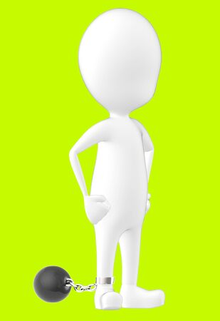 3d white character , leg tied to a weight -green background- 3d rendering Banco de Imagens